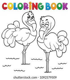 Coloring book flamingo theme 1 - eps10 vector illustration.