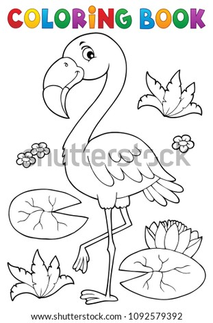 Coloring book flamingo theme 2 - eps10 vector illustration.