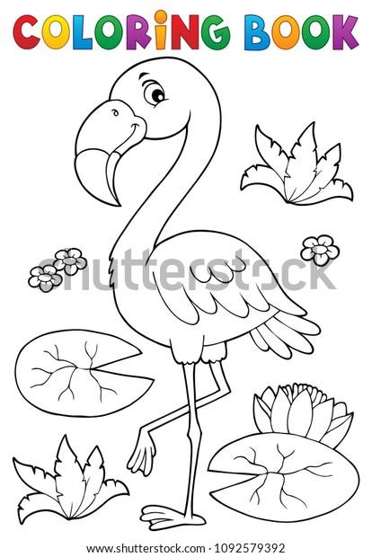 Coloring book flamingo theme 2 - eps10 vector illustration.