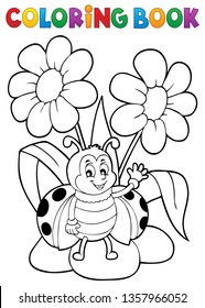 Coloring book flower and happy ladybug 1 - eps10 vector illustration.
