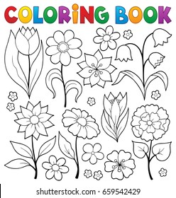 Coloring book flower topic 2 - eps10 vector illustration.