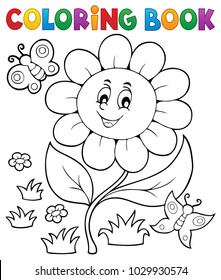 Coloring book flower topic 6 - eps10 vector illustration.