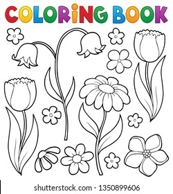 Coloring book flower topic 9 - eps10 vector illustration.