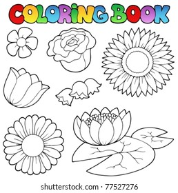 Coloring book with flowers set - vector illustration.