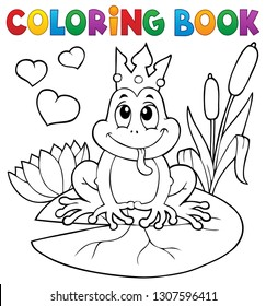 Coloring book frog with crown - eps10 vector illustration.