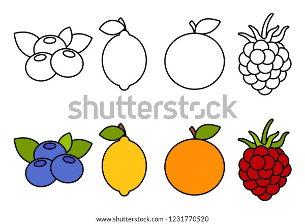 Coloring Book Fruits Coloring Kids Stock Vector Royalty