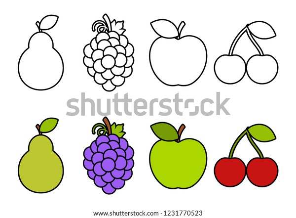 Coloring Book Fruits Coloring Kids Stock Vector (Royalty Free ...