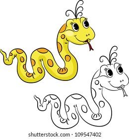 Coloring book. Funny cartoon snake. Vector illustration