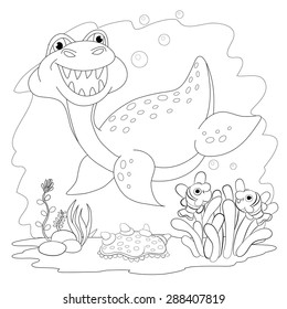 Coloring Book Funny Dinosaur In A Sea Cartoon And Vector Isolated Character On Background