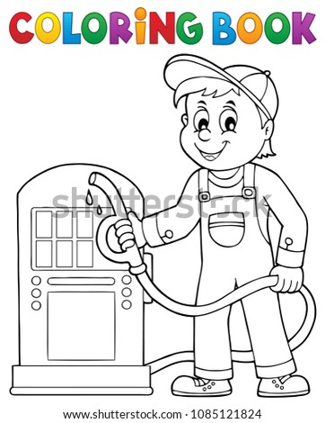 Coloring book gas station worker theme 1 - eps10 vector illustration.