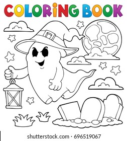 Coloring book ghost with hat and lantern - eps10 vector illustration.