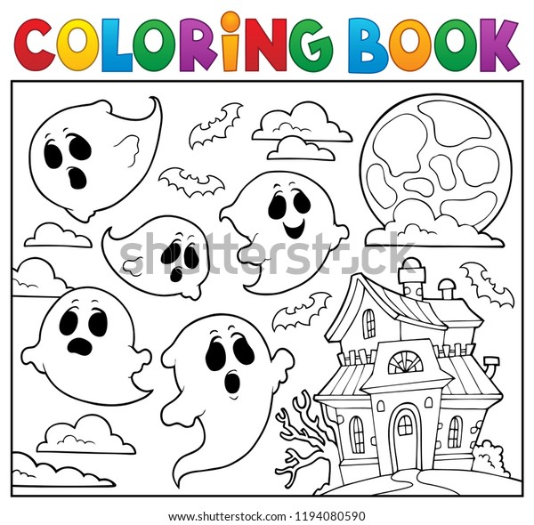Coloring book ghost theme 6 - eps10 vector illustration.