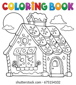 Coloring book gingerbread house theme 1 - eps10 vector illustration.