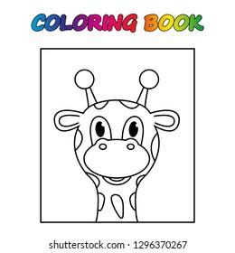coloring book. giraffe - сoloring page to educate preschool kids . Game for preschool kids, worksheet. Vector cartoon illustration.