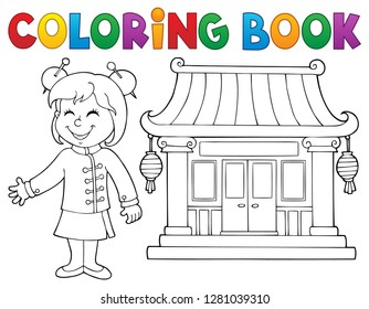 Coloring book girl by Chinese temple - eps10 vector illustration.