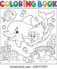 Coloring book girl and dolphin theme 2 - eps10 vector illustration.