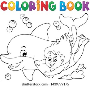 Coloring book girl and dolphin theme 1 - eps10 vector illustration.
