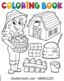 Coloring book girl and farm objects - eps10 vector illustration.