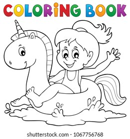 Coloring book girl floating on unicorn 1 - eps10 vector illustration.