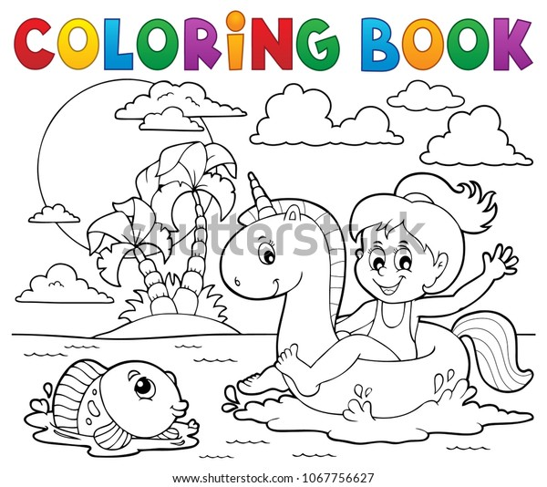 Coloring book girl floating on unicorn 2 - eps10 vector illustration.