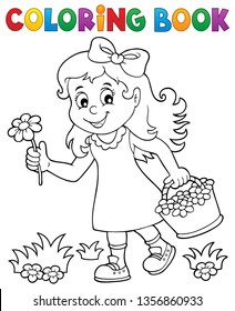 Coloring book girl with flower theme 1 - eps10 vector illustration.