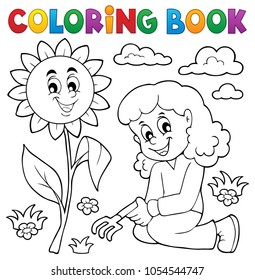 Coloring book girl gardening theme 1 - eps10 vector illustration.