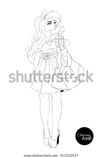 Coloring Book Girl Isolation Woman Coloring Stock Vector Royalty