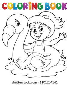 Coloring book girl on flamingo float 1 - eps10 vector illustration.