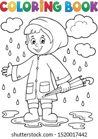 Coloring book girl in rainy weather 1 - eps10 vector illustration.