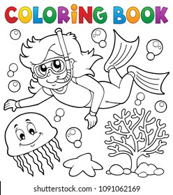 Coloring book girl snorkel diver - eps10 vector illustration.