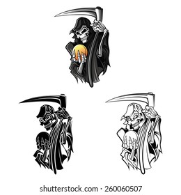 Coloring book Grim Reaper cartoon character - vector illustration .EPS10