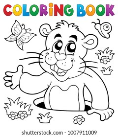 Coloring book groundhog theme image 2 - eps10 vector illustration.