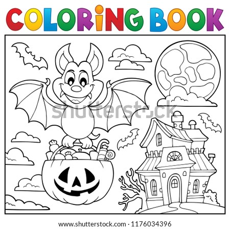 Coloring book Halloween bat theme 2 - eps10 vector illustration.