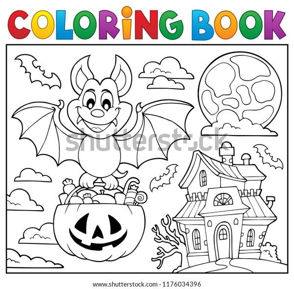 Coloring book Halloween bat theme 2 - eps10 vector illustration.