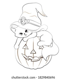 coloring book halloween cat in witch hat, kitten on pumpkin. Picture in hand drawing cartoon style, for t-shirt wear fashion print design, greeting card, postcard. baby shower. party invitation.