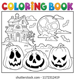 Coloring book with Halloween pumpkins 2 - eps10 vector illustration.