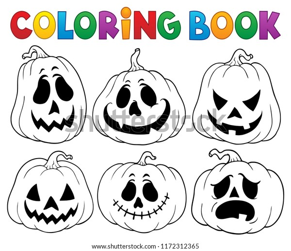 Coloring book with Halloween pumpkins 3 - eps10 vector illustration.