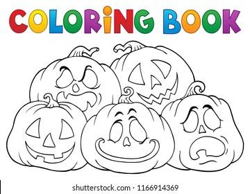 Coloring book Halloween pumpkins pile 1 - eps10 vector illustration.