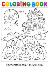 Coloring book Halloween pumpkins pile 2 - eps10 vector illustration.