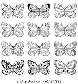 Coloring  book. Hand drawn. Adults, children. Black and white. Set of butterflies.