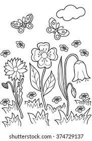 Coloring  book.  Hand drawn. Black and white.Adults, children.Flowers.