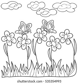 Coloring  book.  Hand drawn. Black and white. Adults, children. Flowers, summer.