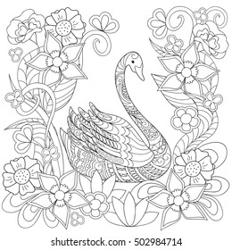 For coloring book hand drawn decorated swan and flowers isolated on white. Image for adult and children coloring book, tattoo, decorate dishes, cups, porcelains, t-shirts, dress, bags, tunics. EPS 10.