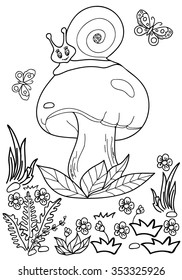 Coloring Book Hand DrawnForest Snail Adults Children Black And