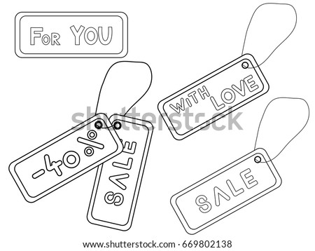 Coloring Book Hanging 40 Discount Tag Stock Vector (Royalty Free ...