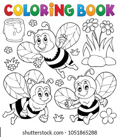 Coloring book happy bees topic 1 - eps10 vector illustration.