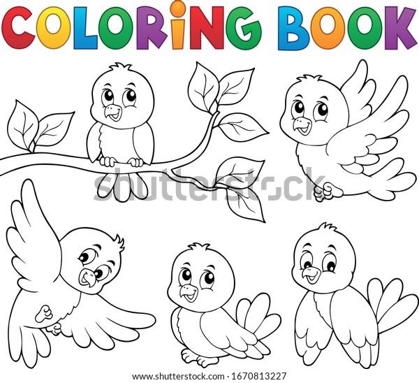 Coloring book happy birds theme 1 - eps10 vector illustration.