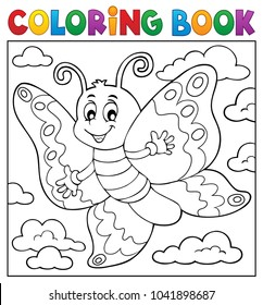 Coloring book happy butterfly topic 2 - eps10 vector illustration.
