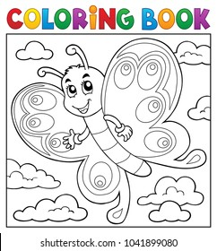 Coloring book happy butterfly topic 3 - eps10 vector illustration.