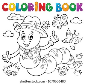 Coloring book happy caterpillar 1 - eps10 vector illustration.